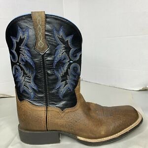 Ariat Western Boots Size 5.5 Brown with Black and Blue Stitching Cowboy Rodeo