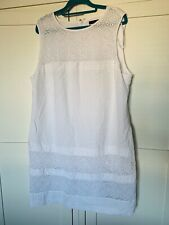 White Ladies Linen Blend Dress - Size 20 From M&Co