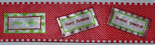 Wired Ribbon~Merry Christmas~Happy Holidays Message~Red Dot~Wreath~Gift~Bow