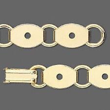 4729FD Bracelet Base Blank Gold plated Steel 10 Oval Links 13x10mm  7.5 in Qty 1