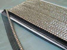 5 Yards Rhinestone Trim Crystal Banding Silver-Black Netting