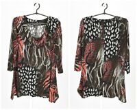 Womens Frank Lyman Design Tunic Shirt Animal Print Stretch 3/4 Sleeve 16UK 14US