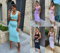 Womens Ladies Jumbo Ribbed Maxi Bodycon Two Piece Set Skirt and Strappy Crop Top