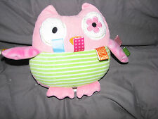TAGGIES SIGNATURE COLLECTION PINK CORD CORDUROY OWL STUFFED PLUSH BABY TOY GIRL