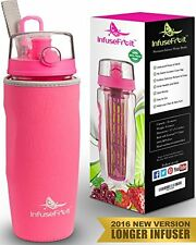 Infuser Water Bottle with Unique Full Length Infuser and Insulating Sleeve - Mul