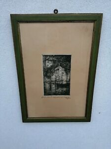 Pericles Menin (Venice, 1880 1944) Etching On Silk Signed First 900