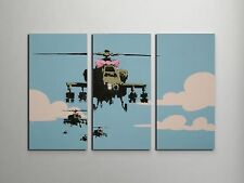 """Banksy Happy Helicopters Stretched Canvas Triptych Print 48""""x30"""". BONUS DECAL!"""