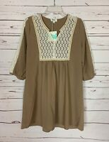 Umgee USA Boutique Women's S Small Ivory Lace Spring Tunic Top Blouse NEW TAGS