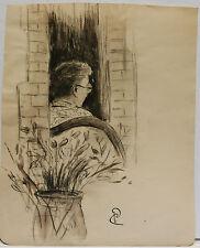 Dessin Original Aquarelle PAUL COUVREUR - Femme au pot. - vers 1930 - PC62