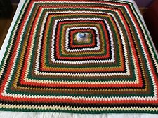 Granny Afghan Blanket Hand Crocheted Greens Red Yellow Variegated Soft White