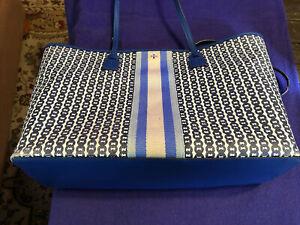 AUTHENTIC TORY BURCH Gemini Link Canvas Top Zip Tote Bag