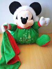 Doudou Mickey Disney boule vert rouge mouchoir Noel Christmas