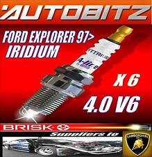 FITS FORD EXPLORER 4.0 V6 MFI 1997> BRISK SPARK PLUGS X6 IRIDIUM