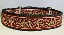 "Martingale Dog Collar Burgundy Gold Greyhound Lurcher Saluki Borzoi 1.5"" wide"