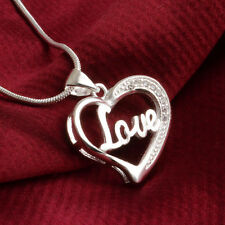 Styling Silver Plated Heart Necklace Pendant & Chain Crystal Love Charm Gifts