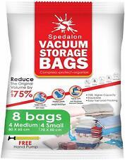 Vacuum Storage Bags, 8 Pack, 4 Medium, 4 Small & Free Pump. Bedding, Clothes ETC