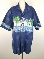 Jumping Marlin Hawaiian Aloha Shirt Pacific Legend Made in Hawaii Men's L