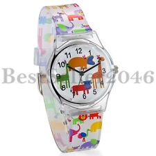 Kids Cartoon Silicone Wrist Watch Animal Number Time Teacher Gift for Boys Girls