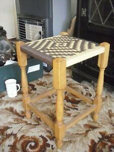 Amazing Vintage Woven Wicker Foot Stool Foot Rest Seat