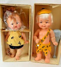 RARE Pair Flintstones Pebbles and Bam Bam Dolls, Original Boxes, Ideal Toys 1963