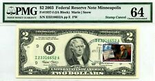 $2 DOLLARS 2003 STAMP CANCEL DANDRIDGE TN 37725 USPS LUCKY MONEY VALUE $1976