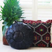 SALE! Moroccan Genuine Leather Boho Pouf Ottoman Footstool Pouffe Black Pouf
