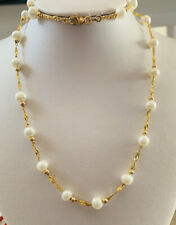 18K Solid Yellow Gold Necklace With Freshwater Pearl 22 Inches (979$)