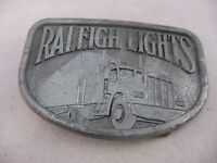 Vintage Mens Belt Buckle: RALEIGH LIGHTS Truck Semi