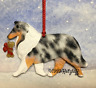 Rough Collie with bone charm. Blue Merle. Christmas/holiday dog breed ornament.