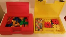 Tyco Super Blocks Construx Storage Cases with Bristle Letter Waffle Blocks LEGO