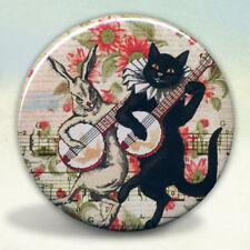 Black Cat and Rabbit Banjo Players Pocket Mirror tartx