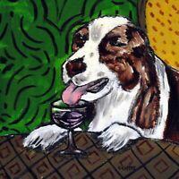 ENGLISH springer spaniel print on tile - ceramic coaster - modern wine art gift