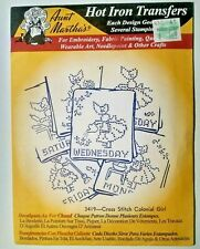 Aunt Martha's Cross Stitch Colonial Gir Embroidery Needlepoint Iron on Transfers