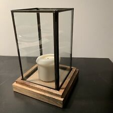Cost Plus World Market Wood Glass Modern Decor Japanese Hurricane Candle Holder!