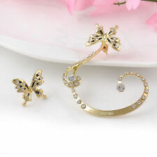 Fashion Celebs Sweet Crystal Ear Cuffs Clip On Cartilage Wrap Cuff Punk Earrings