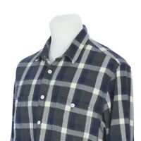 J Crew Button Down Blue Gray White Plaid Flannel Outdoor Shirt Mens Large