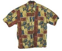 Kahala Avi Collection Mens Hawaiian Aloha Shirt Short Sleeve Tribal Floral Sz M