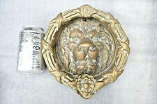 More details for vintage huge brass door knocker lion face mask wreath late century 3.8 kilo !
