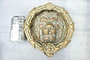 Vintage Huge Brass Door Knocker Lion Face Mask Wreath Late Century 3.8 Kilo !