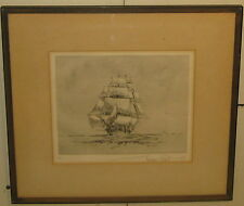 RARE Vintage GORDON GRANT Ship Running Before the Wind SAILBOAT ETCHING - Listed