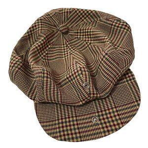 T Barry Knicker Company Golf Cap Original PLAID HAT USA VINTAGE BROWN BEANIE