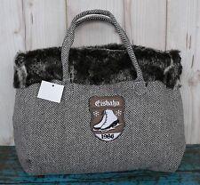Handtasche Winter Tweed schwaz weiß mit Pelzrand Breite 32cm Tasche Wintersport