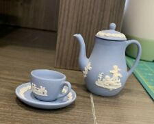 Miniature Jasper Wedgewood Coffee Pot and Tea Cup