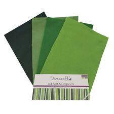 Dovecraft A4 Art + Craft Feltro Colorato 8 FOGLI Shade Confezione Multipla-VERDI