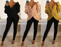 V Neck Knitted Twisted Knot Wrap Front Cross Back Long Sleeve Jumper Sweater Top