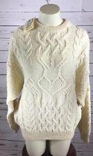ARAN CRAFTS IRELAND Cream Cable Knit Irish Sweater Sz M Ivory HEART 100 %Wool