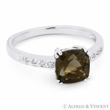 Right Hand Ring in 14k White Gold 1.41ct Cushion Cut Smoky Topaz Round Diamond