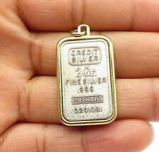 Plated Bullion Drop Pendant - P8646 925 Sterling Silver - Vintage Gold