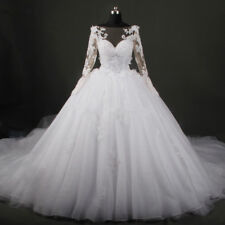 Sheer Long Sleeves Lace Applique Flowers Beaded Wedding Dresses Bridal Gowns New