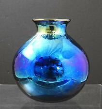 "Vintage Art Glass Iridescent Blue Signed Numbered 6-96 Vase 5 1/8"" O14"